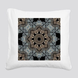 bohemian floral metallic mand Square Canvas Pillow