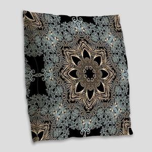 bohemian floral metallic manda Burlap Throw Pillow