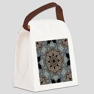 bohemian floral metallic mandala Canvas Lunch Bag