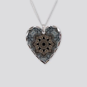 bohemian floral metallic mand Necklace Heart Charm