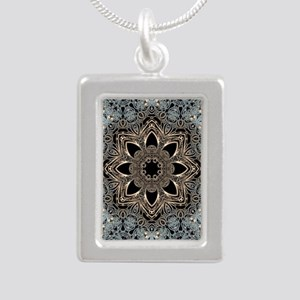 bohemian floral metallic Silver Portrait Necklace