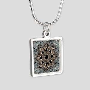 bohemian floral metallic m Silver Square Necklace