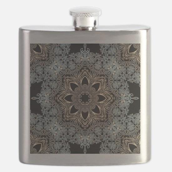 bohemian floral metallic mandala Flask