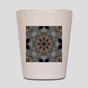 bohemian floral metallic mandala Shot Glass