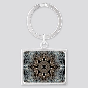 bohemian floral metallic mandal Landscape Keychain