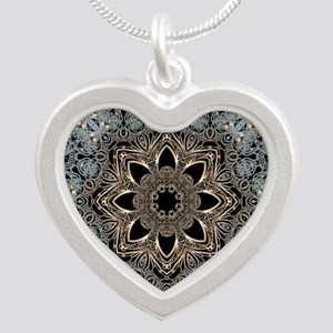 bohemian floral metallic man Silver Heart Necklace