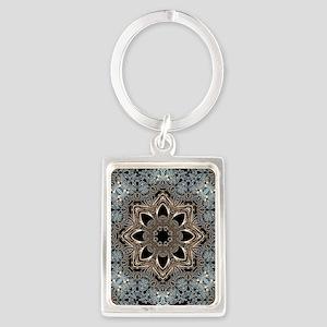 bohemian floral metallic mandala Portrait Keychain