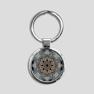 bohemian floral metallic mandala Round Keychain