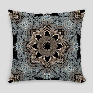 bohemian floral metallic mandala Everyday Pillow
