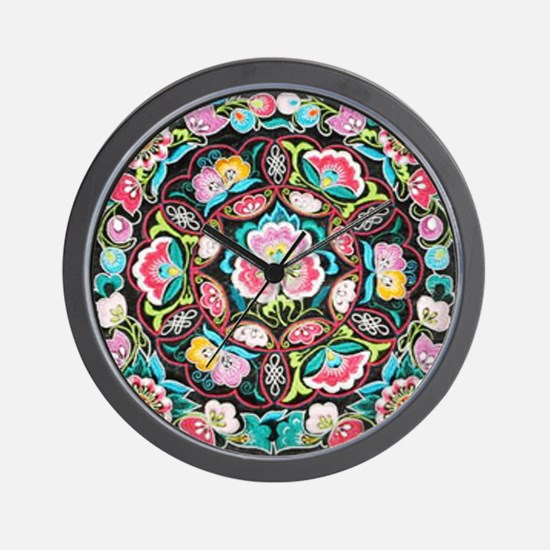 vibrant colorful flowers bohemian Wall Clock