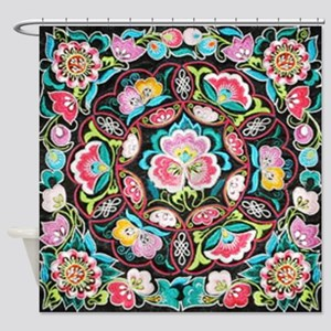 vibrant colorful flowers bohemian Shower Curtain