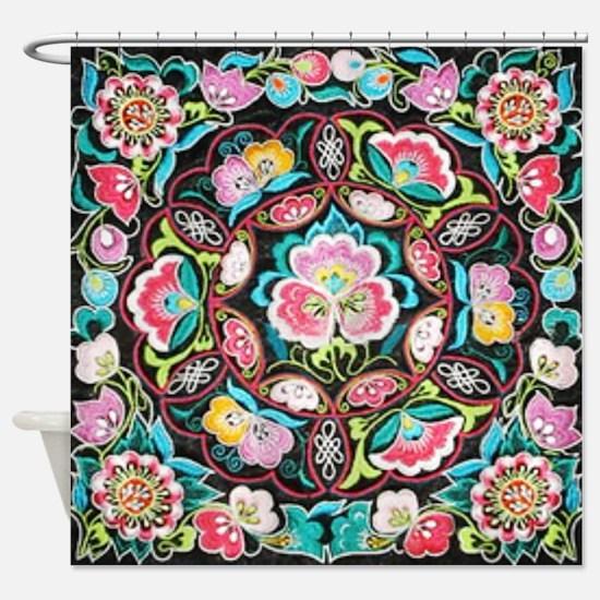 vibrant colorful flowers bohemian Shower Curtain