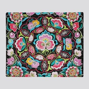 vibrant colorful flowers bohemian Throw Blanket