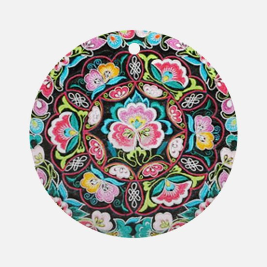 vibrant colorful flowers bohemian Round Ornament
