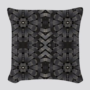 abstract pattern grunge indust Woven Throw Pillow