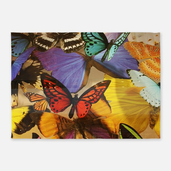 girly summer colorful butterfly 5'x7'Area Rug