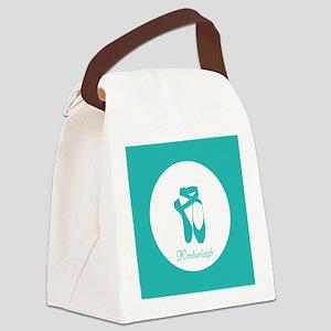 Team Pointe Ballet Aqua Monogram Canvas Lunch Bag