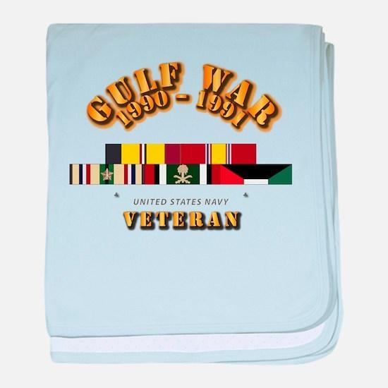 Navy - Gulf War 1990 - 1991 w Svc Rib baby blanket