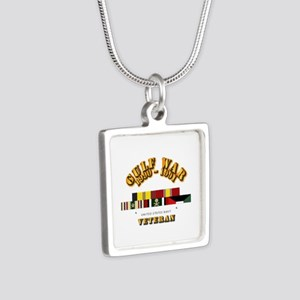 Navy - Gulf War 1990 - 199 Silver Square Necklace
