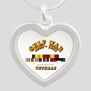 Navy - Gulf War 1990 - 1991 Silver Heart Necklace