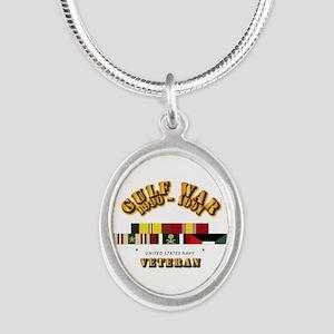 Navy - Gulf War 1990 - 1991 w Silver Oval Necklace