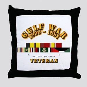 Navy - Gulf War 1990 - 1991 w Svc Rib Throw Pillow