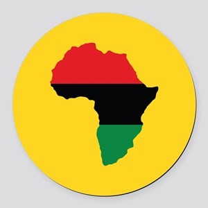 Red, Black and Green Africa Flag Round Car Magnet