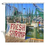 Coastal Shrimp Boats Sign Shower Curtain