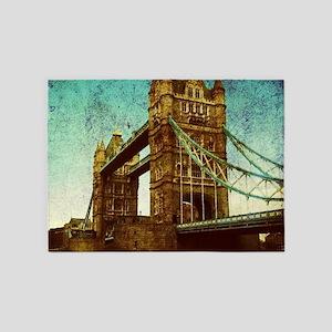 vintage London Tower Bridge 5'x7'Area Rug