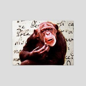 Cute ape funny chimpanzee 5'x7'Area Rug