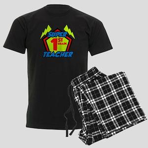 Super First Grade Teacher Men's Dark Pajamas