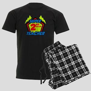 Super Second Grade Teacher Men's Dark Pajamas