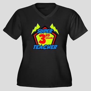 Super Third Women's Plus Size V-Neck Dark T-Shirt