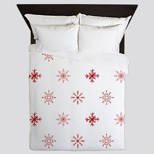 Christmas Snowflakes: Red Background Queen Duvet