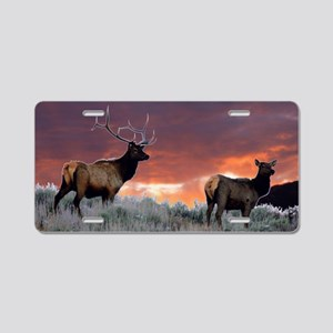 elk sunset Aluminum License Plate