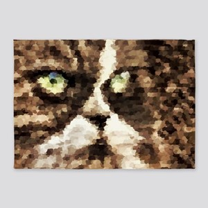 Painted angry looking persian cat h 5'x7'Area Rug