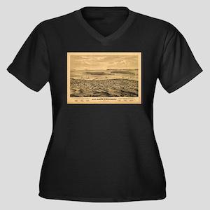 San Diego, CA 1876. Women's Plus Size V-Neck Dark