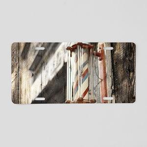 vintage barber shop pole Aluminum License Plate