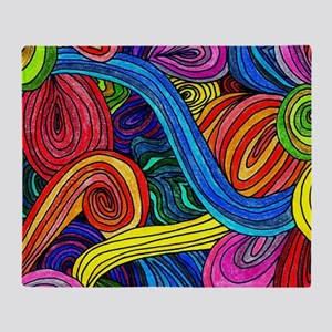 Psychedelic Lines Throw Blanket