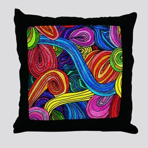 Psychedelic Lines Throw Pillow