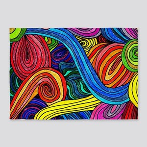 Psychedelic Lines 5'x7'Area Rug