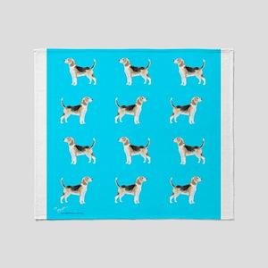 beagles in blue Throw Blanket