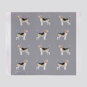 beagles in grey Throw Blanket