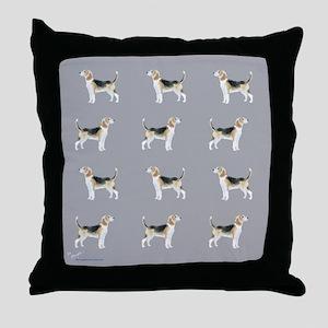 beagles in grey Throw Pillow