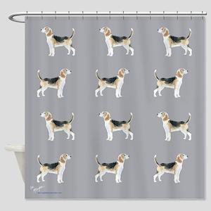 beagles in grey Shower Curtain