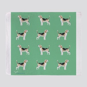 beagles in green Throw Blanket