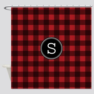 S Monogram Buffalo Plaid Shower Curtain