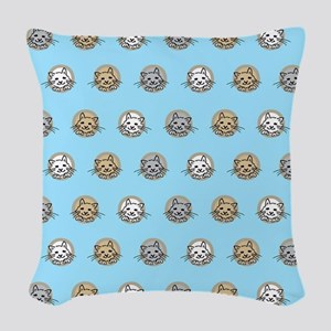 kittens on sky blue Woven Throw Pillow