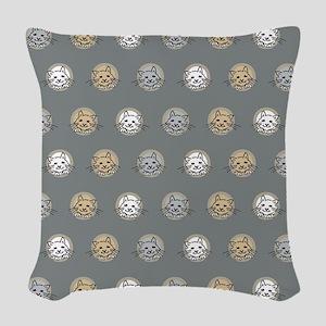 kittens on grey Woven Throw Pillow