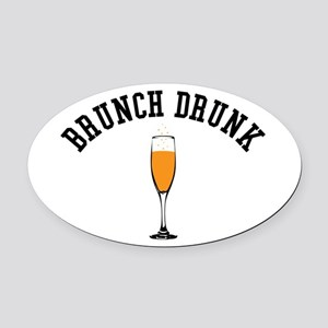 Brunch Drunk Oval Car Magnet